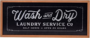 NIKKY HOME Metal Wash and Dry Wall Plaque Sign for for Laundry Room, 23.94 x 1.02 x 10.04 Inches, Black
