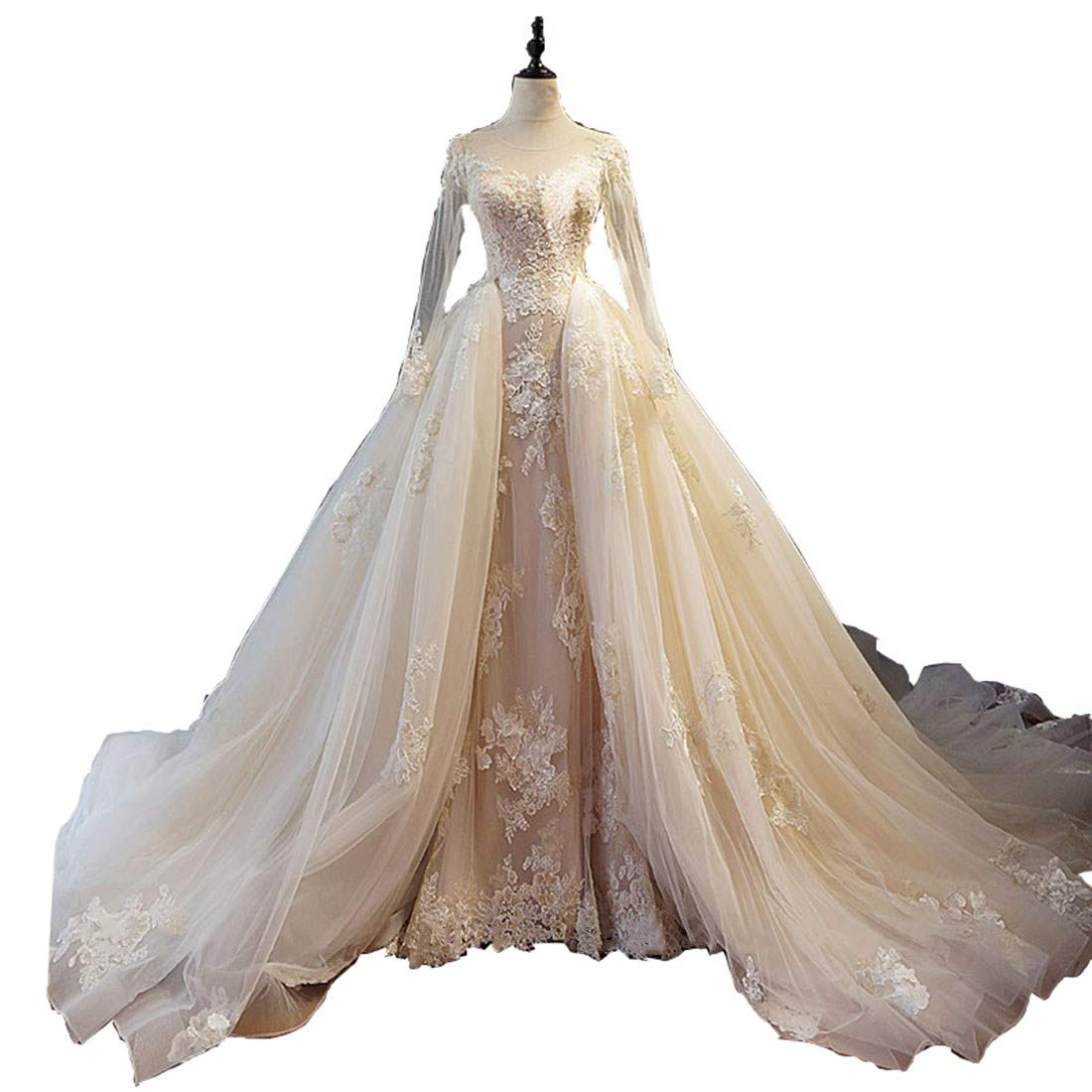 0a76683dc9d Aries Tuttle Champagne Mermaid Cathedral Train Corset Wedding Dress  Appliques Tulle Bridal Gown at Amazon Women s Clothing store