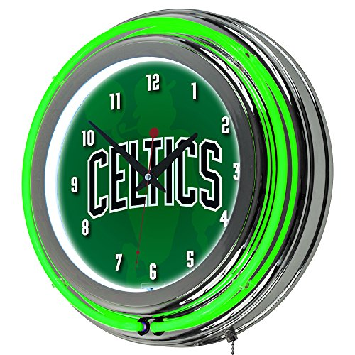 Trademark Gameroom NBA1400-BC2 NBA Chrome Double Rung Neon Clock - Fade - Boston ()
