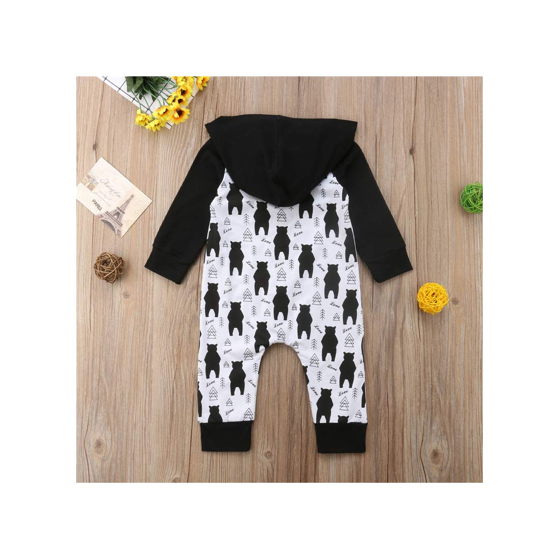 Yuehen Cute Kids Baby Boy Girl Hooded Romper Clothes Boys Autumn Bear Tree One Piece Jumpsuit Rompers Cotton Outfits Romper
