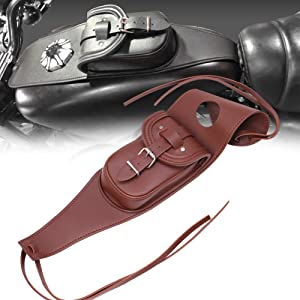 AQIMY Motorcycle Gas Tank Leather Bag Dash Console Center Pouch Bag for Harley Sportster XL 883 1200 (Brown)