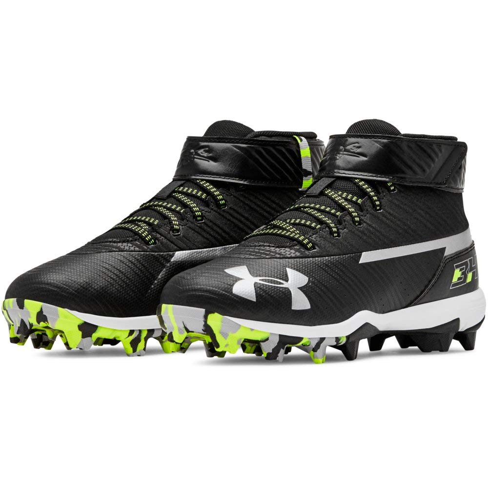 Under Armour Boys' Harper 3 Mid Jr. RM Baseball Shoe Black (001)/White 1.5 by Under Armour (Image #10)