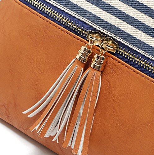 Crossbody Shoulder Bag,Messenger Bag Handbag with Double Zipper for Women Lady Girls by Ubags (Black Stripe) by Ubags (Image #7)