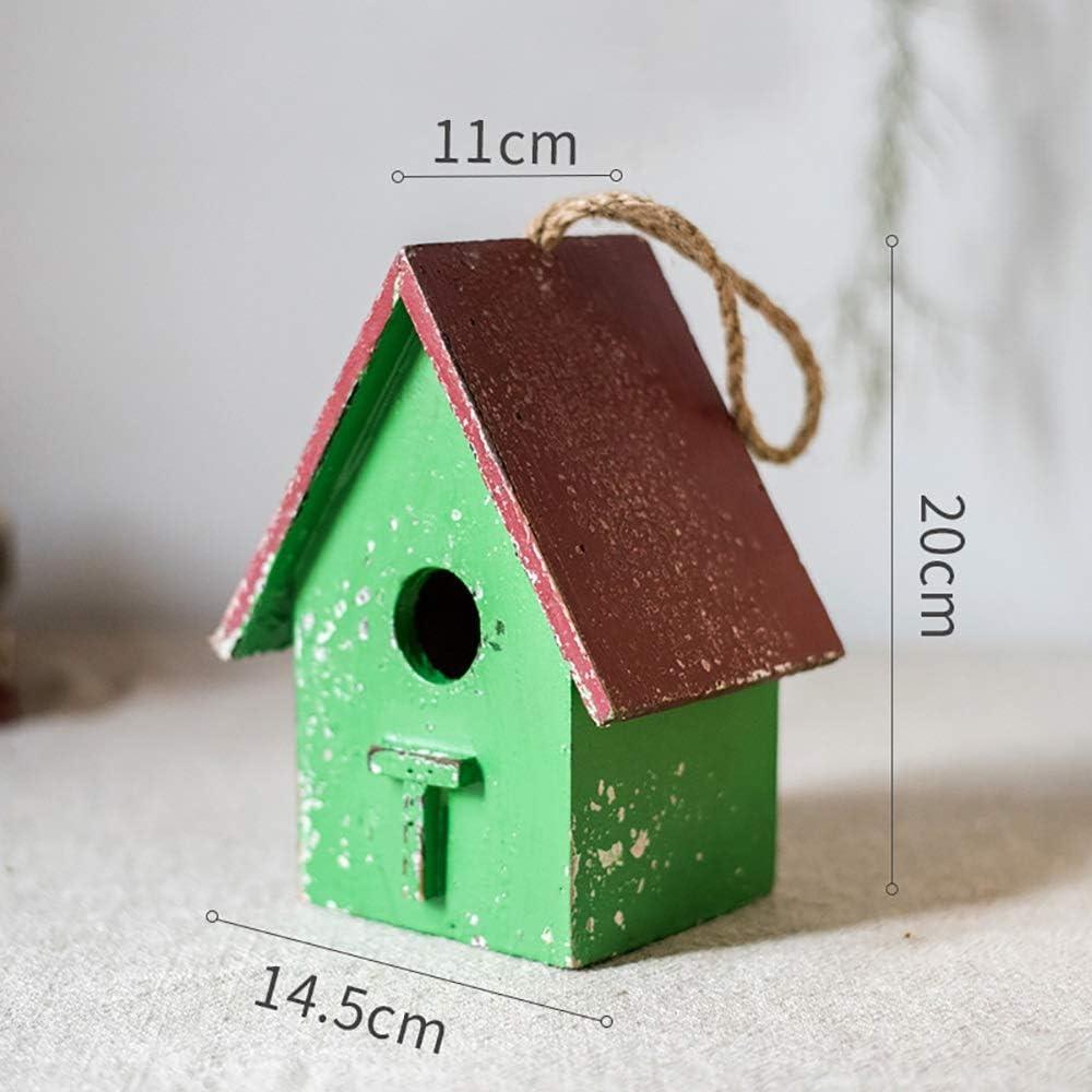 PQXOER Casas para Pájaros Casa de Madera del pájaro de Pintado a Mano Colgando Fuera Decorativo Birdhouse Yard decoración de jardín Casita para Pájaros (Color : B, Size : Free Size)