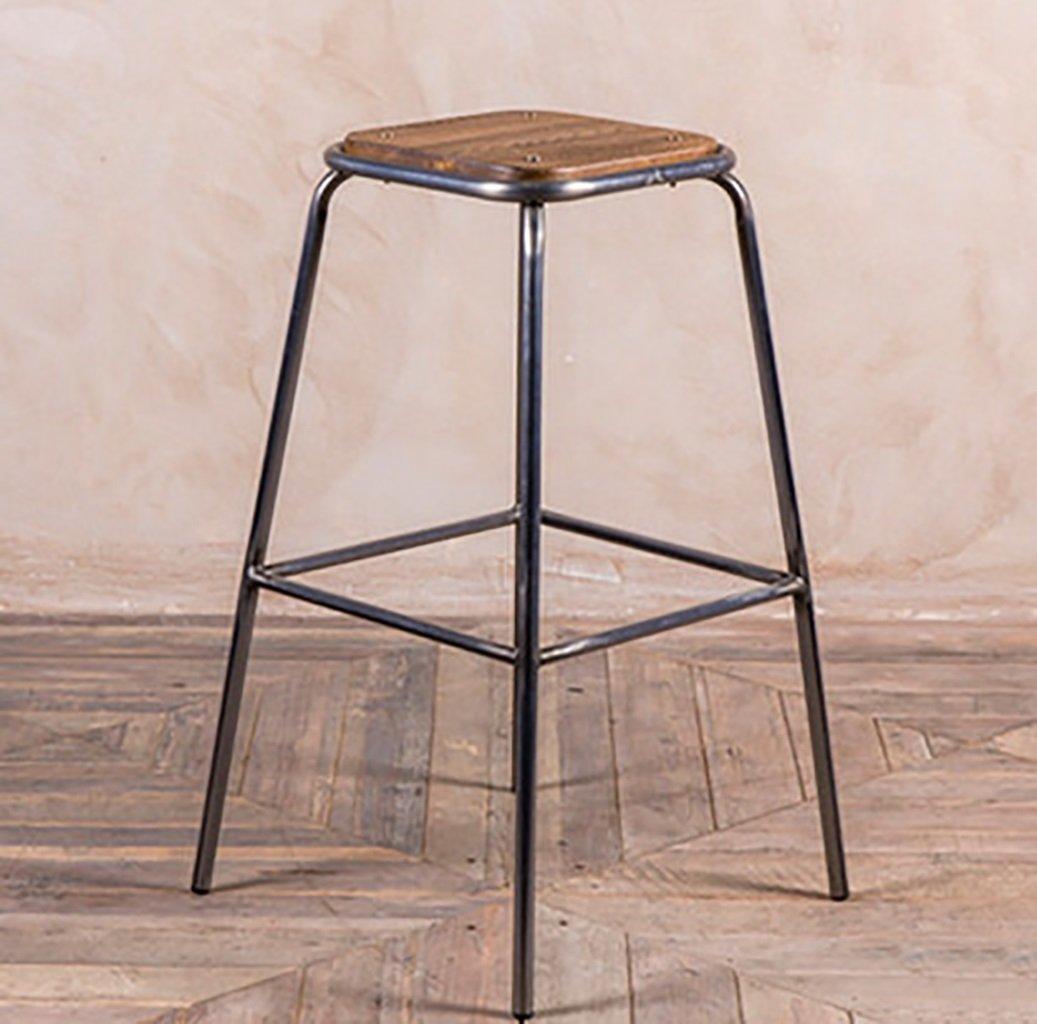 75cm Bar stools Bar stools Industrial Stool Breakfast Stool Tieyi Solid Wood Bench Cafe Leisure high - Legged bar Stool Height Chair (color   65CM)