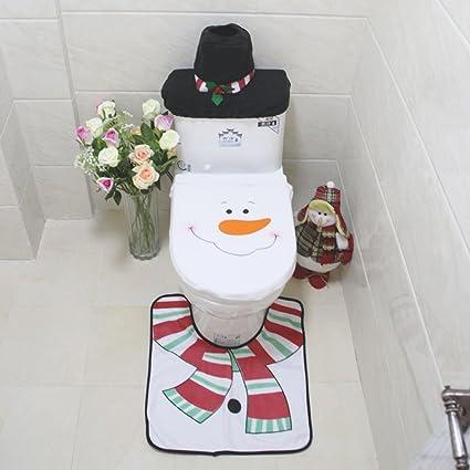 Copri Wc Babbo Natale.Set Wc Natale Copriwater Copri Serbatoio Tappettino Tema Babbo Natale Pupazzo By Hi Suyi