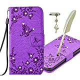 "Samsung Galaxy S5 / S5 Neo Case, Alfort 3 in 1 Bling Glitter Relief Chiseling Fashion Design Dual-Use Flip Phone Case Cover Fold Premium PU Leather Book Wallet Style Case Stand Cover & Screen Protector Stand Function for Samsung Galaxy S5 / S5 Neo 5.1"" Smartphone Image Flowers and Butterflies ( Rose ) + Cute Crystal Dust Plug + Beautiful Stylus Pen"