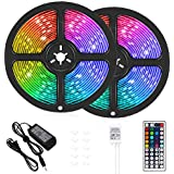 LED Strip Lights, 32.8 ft RGB Led Light Strip 600 LED 5050 SMD IP65 Waterproof RGB Flexible Light Strip Kit with 44 Key IR Remote RGB Controller, Strengthen Tape, 12V 5APower Supply12