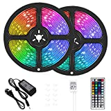 LED Strip Lights, 32.8 ft RGB Led Light Strip 600 LED 5050 SMD IP65 Waterproof RGB Flexible Light Strip Kit with 44 Key IR Remote RGB Controller, Strengthen Tape, 12V 5APower Supply12: more info