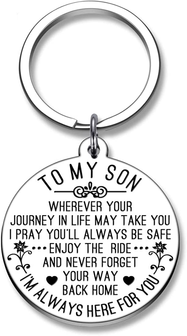 To My Son Keychain Gifts from Mom Dad Birthday Graduation Father's Day Wedding Keyring for Son in Law Stepson Boys Teen Always Be Safe and Come Back Home