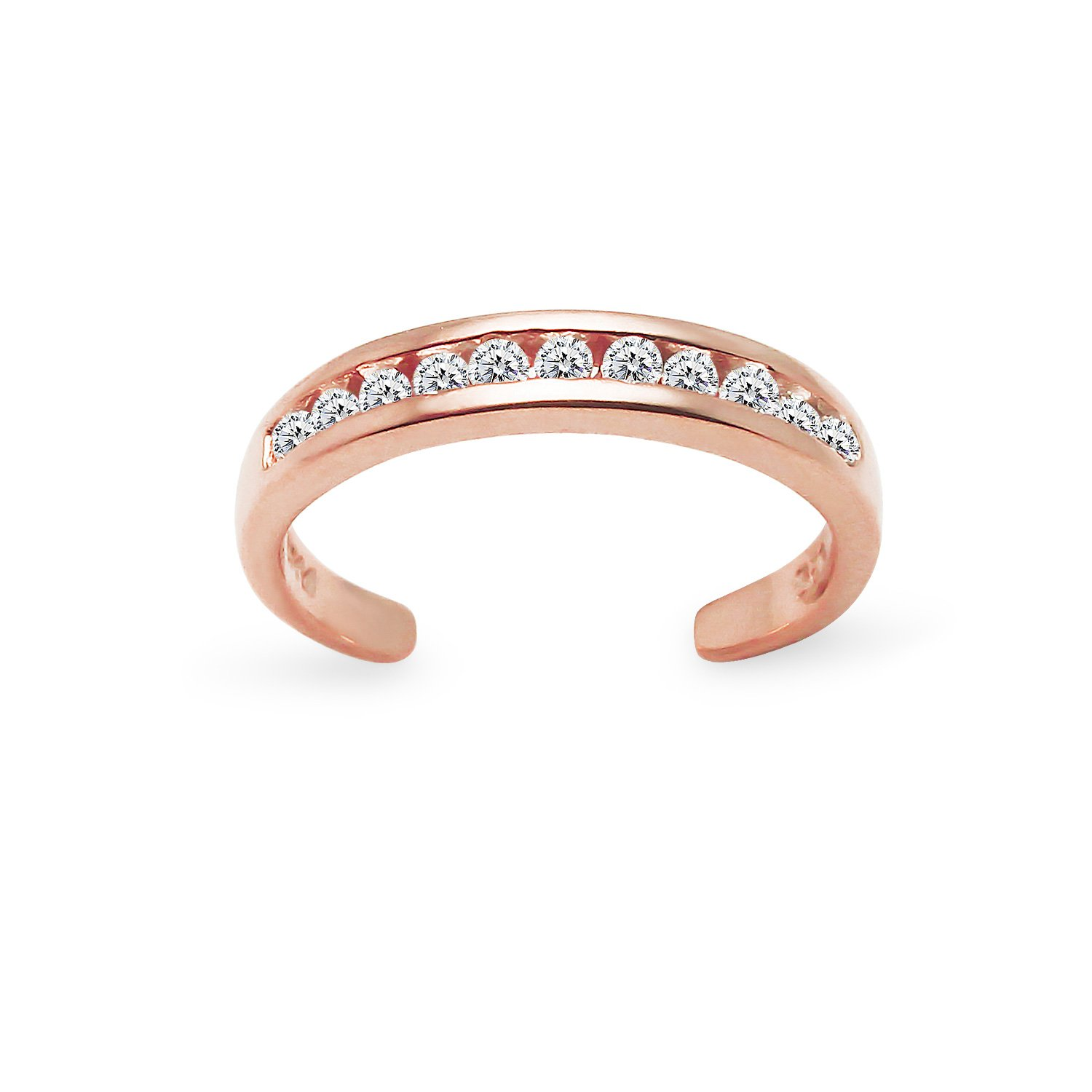 Rose Gold Flashed Sterling Silver Channel Cubic Zirconia CZ Sparkling Adjustable Toe Ring