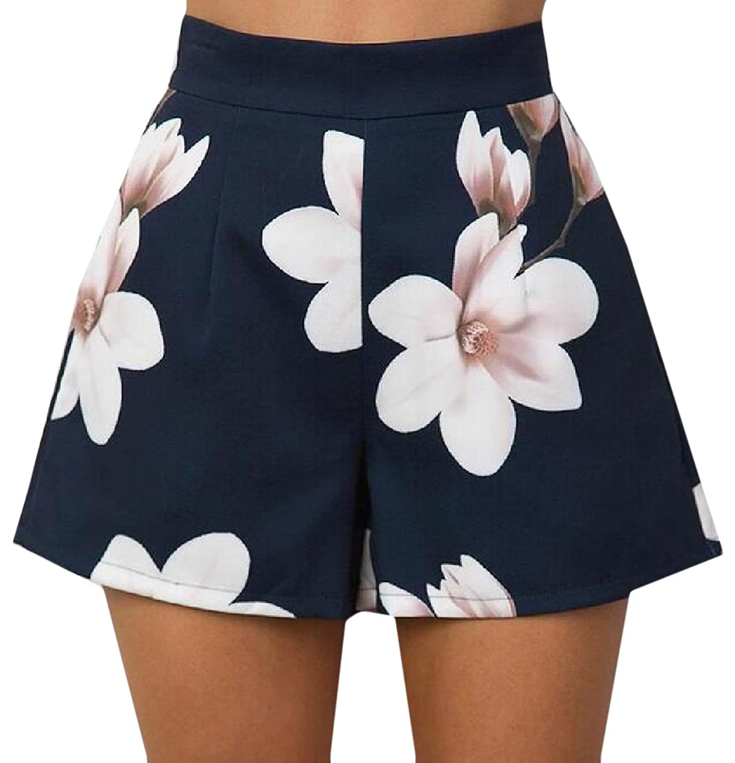 Abetteric Women's Floral Print High Waist Fashion Shorts Hot Pants