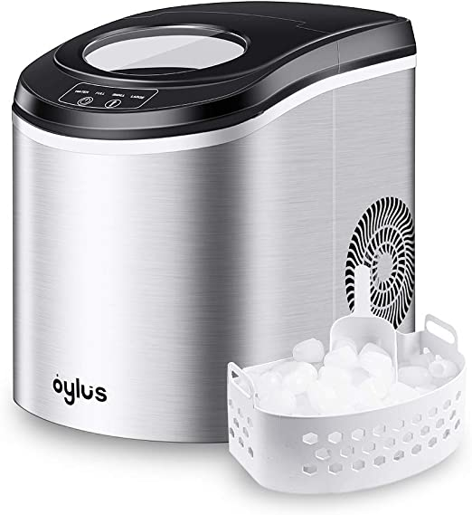 Stainless Steel Portable Clear Ice Maker Countertop Home Small IceCube Machine