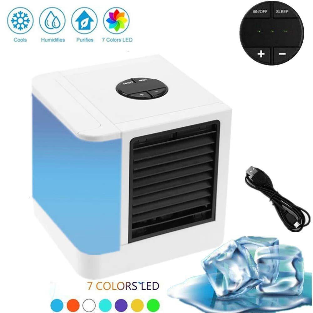Lovego Aire Acondicionado Climatizador Evaporativo Mini Port/átil USB Enfriador De Aire 3-en-2 Ventilador M/ás Fr/ío Humidificador /& Purificador para Escritorio//Hogar//Oficina