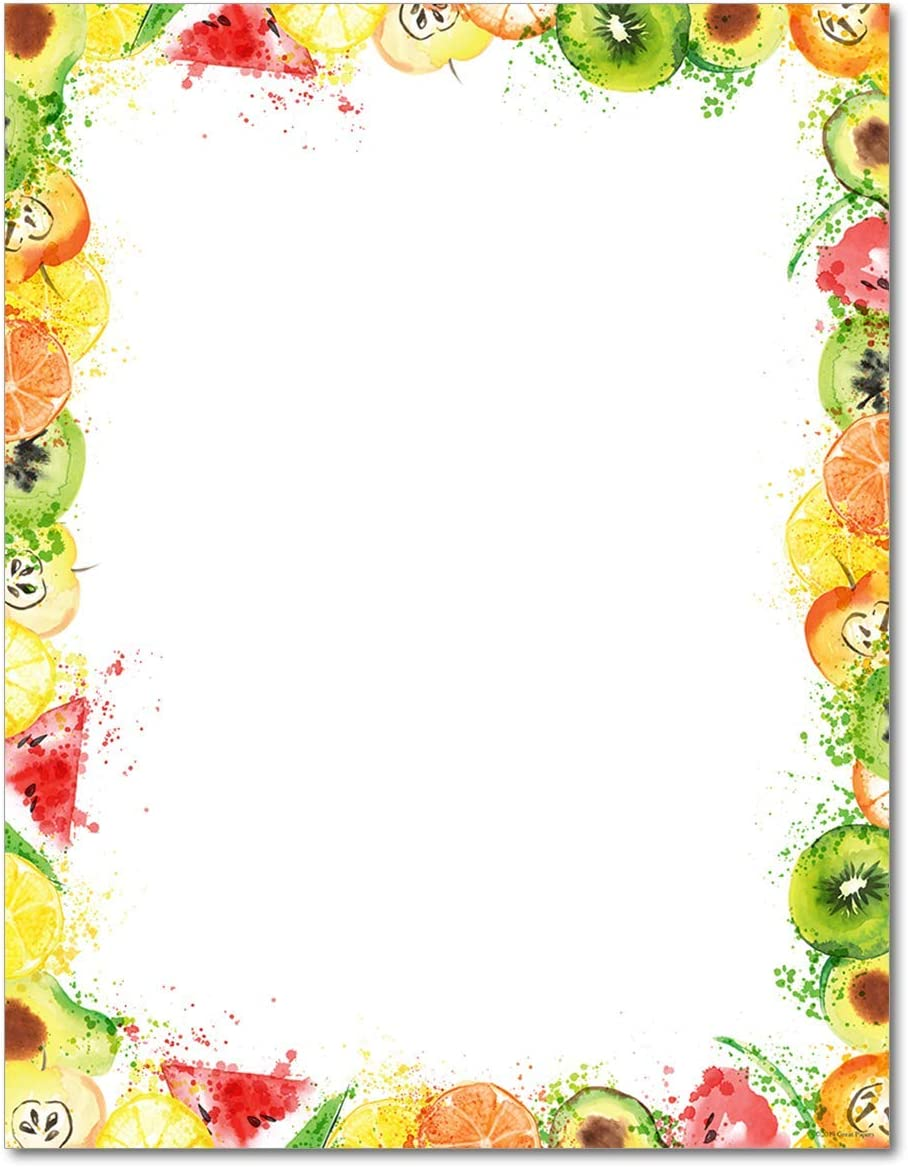 Fruit Splash Stationery Paper - 80 Sheets - Great for Summer Parties