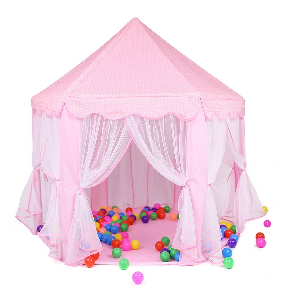 Kids Play TentピンクHexagonプリンセス城Playhouse for Girls Children Play Tent with LEDライトインドアとアウトドア B071LJLQLX Pink Tent