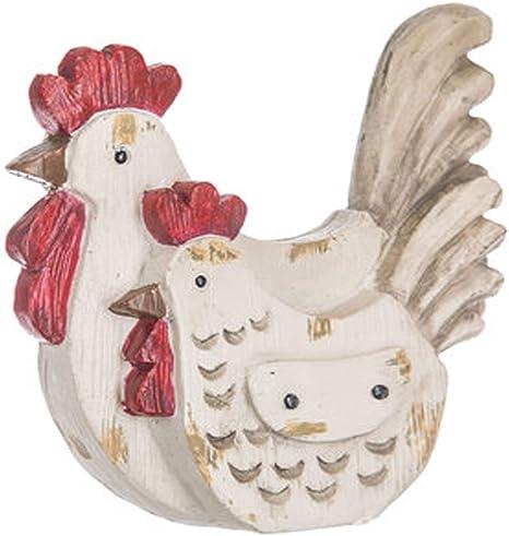 3 piece antique ceramic rooster /& hen chickens farm animals figures figurines statues sculptures white green grey gold vintage kitchen art