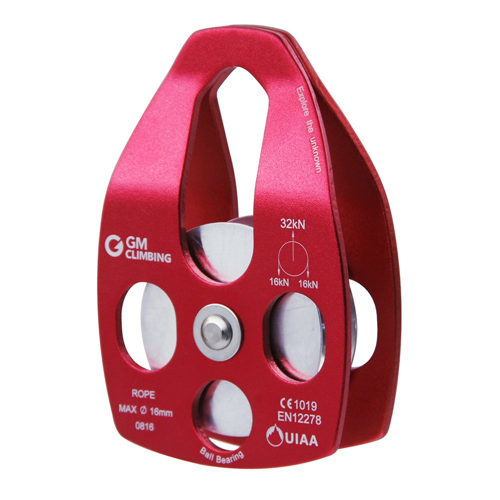 GM CLIMBING 32kN Large Rescue Pulley Single/Double Sheave with Swing Plate (Red - Single Pulley) by GM CLIMBING