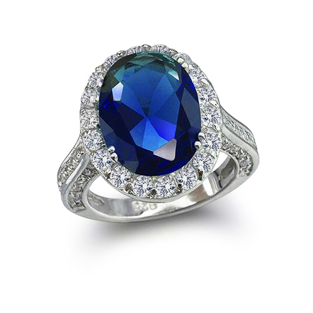 Bling Jewelry Sterling Silver Vintage Style Pave Oval CZ Royal Sapphire Color Engagement Ring - Size 6