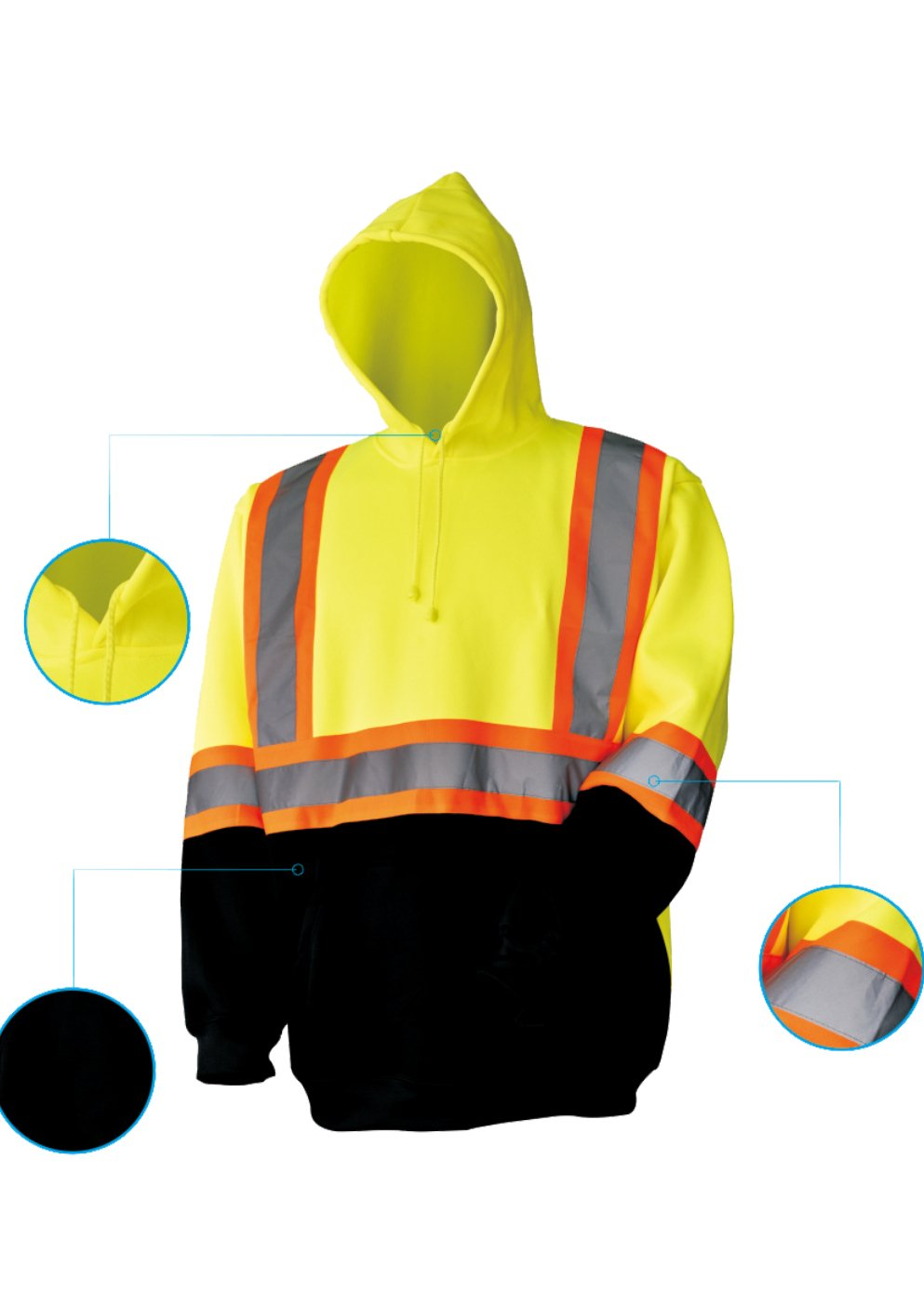 L&M High Visibility ANSI Class 3 Reflective Hooded Sweatshirt Safety Work Jacket (XL, Lime Pull)