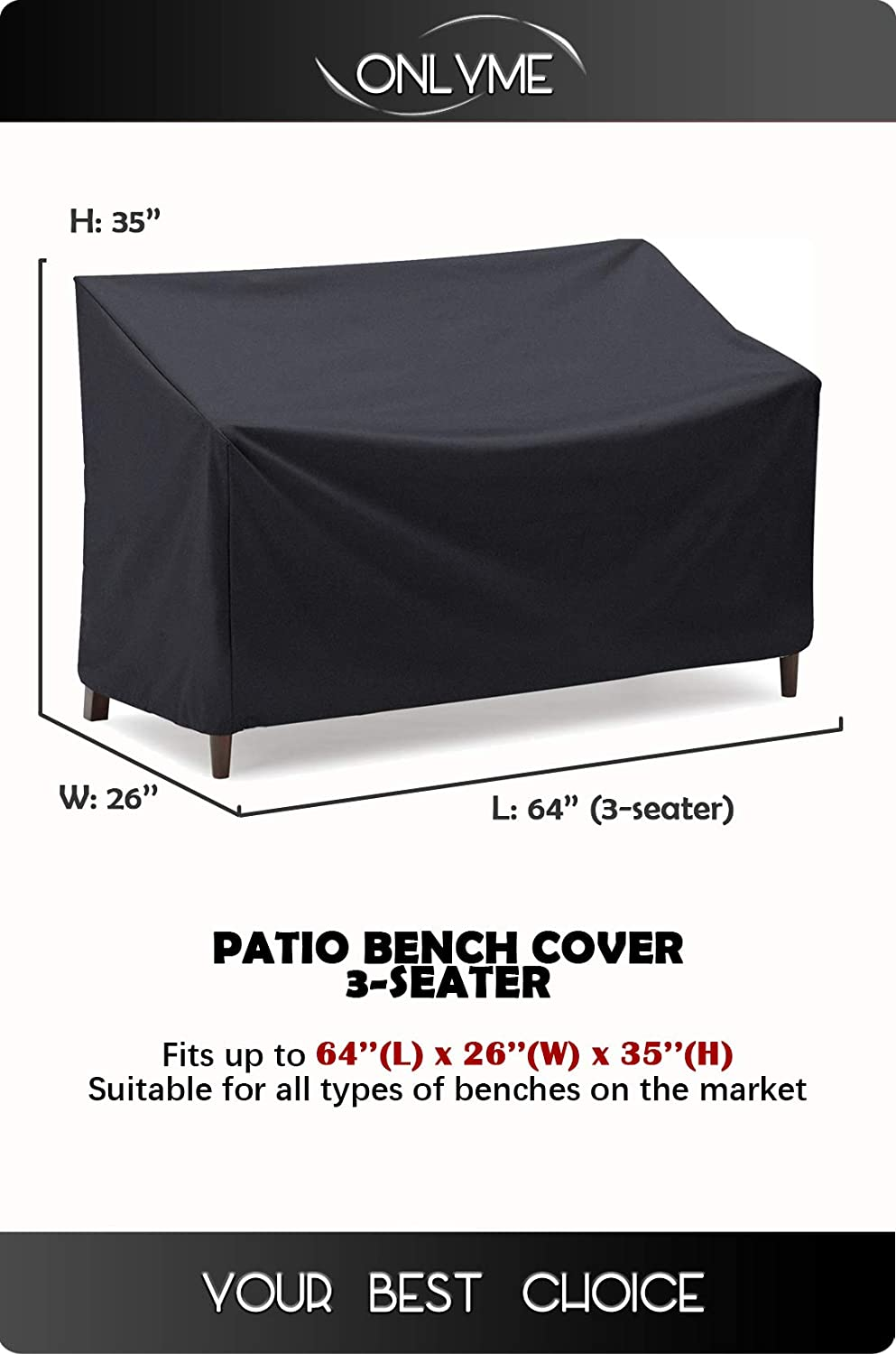Onlyme Patio Chair Loveseat Bench Cover Durable and Waterproof Outdoor Furniture Sofa Covers