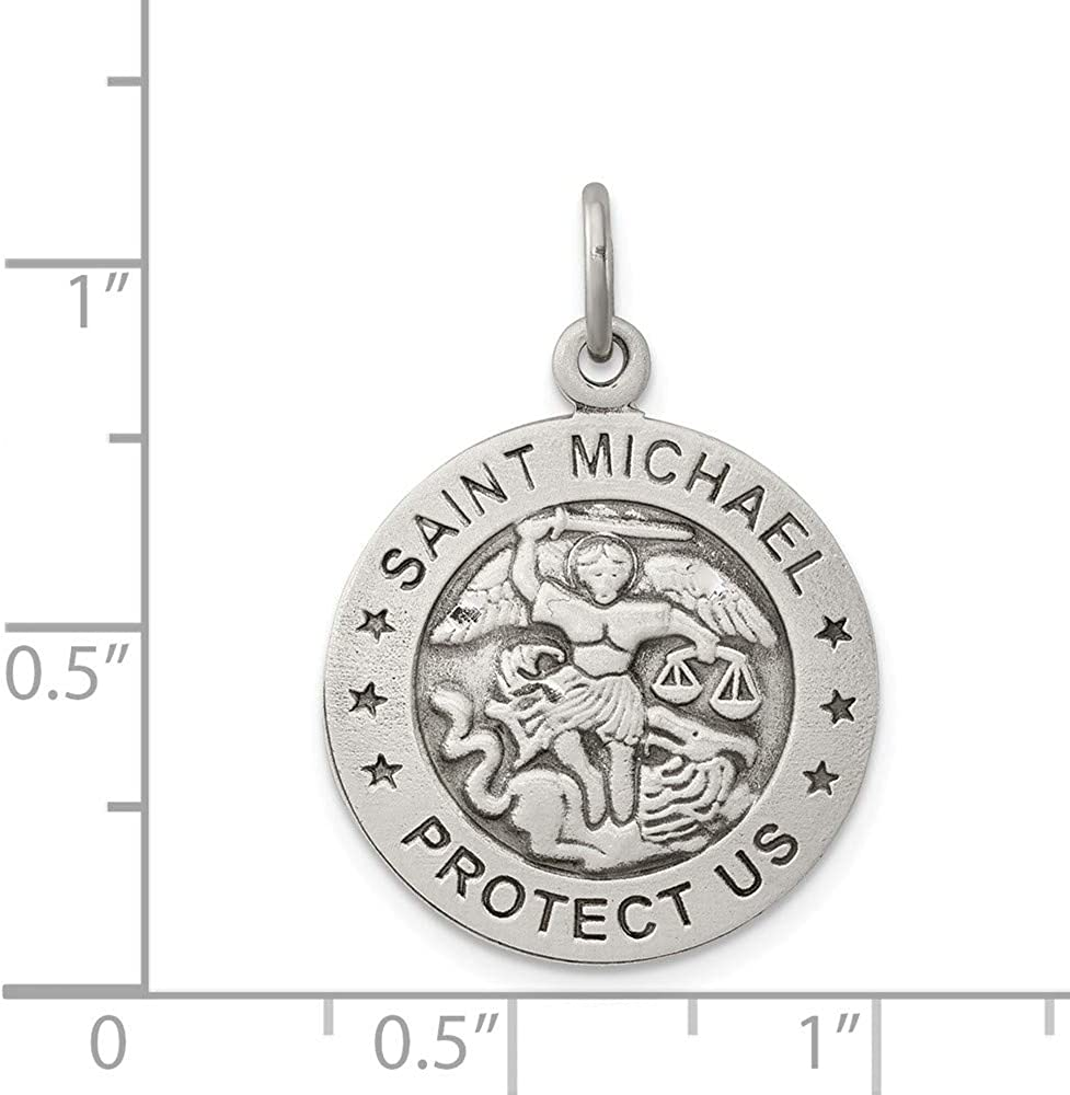 925 Sterling Silver Solid Satin Reversible Sparkle-Cut Antique finish Not engraveable Antiqued Saint Michael Air Force Pendant