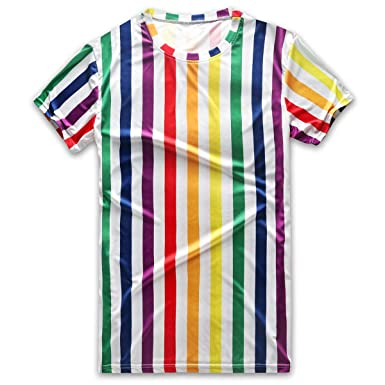 c7c6842686ed Vertical Striped T Shirt Men Rainbow Stripes Tee Crew Neck Short Sleeve  Stripped | Amazon.com