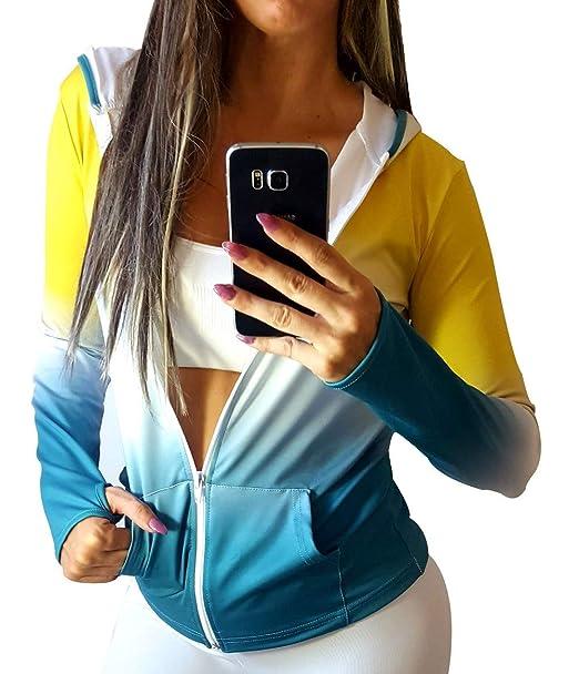 Chaqueta Fitness Mujer con Capucha y Cremallera. Sudadera Mujer Deportiva. (Chaqueta Amarilla New