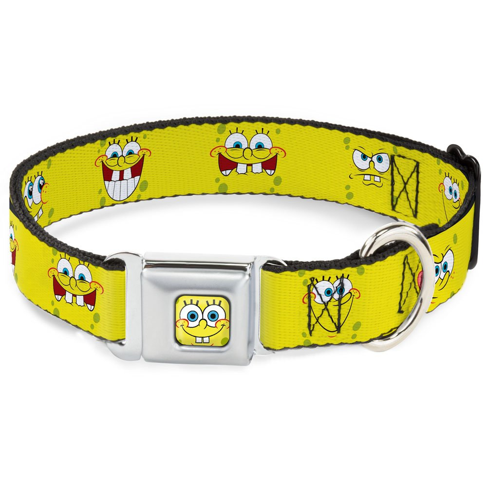 Buckle-Down Seatbelt Buckle Dog Collar Spongebob Expressions Yellow 1  Wide Fits 11-17  Neck Medium