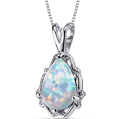 Revoni Opal Pendant Necklace Sterling Silver Round Shape 0.50 Carats