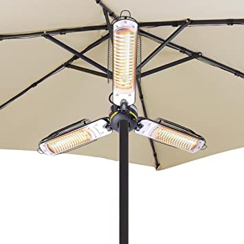 Yescom 1500W Folding Umbrella Electric Patio Space Heater For Indoor Or  Outdoor Gazebo Cafe Parasol Canopy