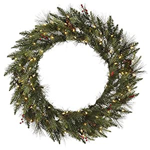 "Vickerman 24"" Unlit Vallejo Mixed Pine and Berry Wreath with Cones 6"