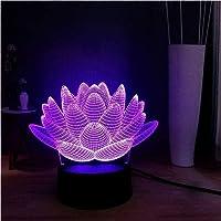 Tatapai 3D Illusion Lamp LED Night Light Acrylic USB Remote Base Lotus Flower 7 Color Change DEC Warm Table Lamp Home…