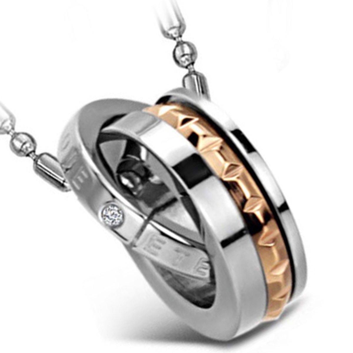 Flongo Men's Womens CouplesEternal Love Stainless Steel Dual-Ring Promise Pendant Necklace FLG01107