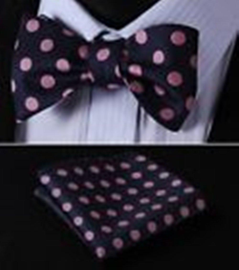Mondaily DL3001H Pink DLue Polka Dot Men Woven Silk Self Bow Tie Pocket Square Set #PPTE4453