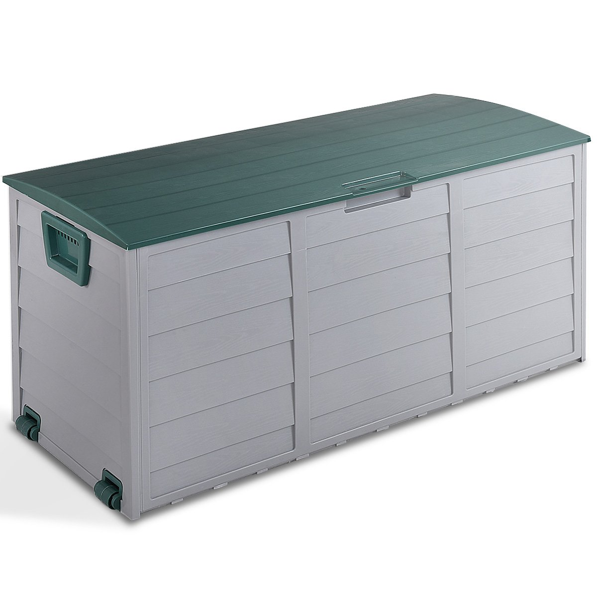 Giantex 79 Gallon Plastic Deck Storage Container Box Outdoor Patio Garden Garage Shed Backyard Furniture with Deep Storage Compartment Easy Lift Lid, Grey/Green HW55980New