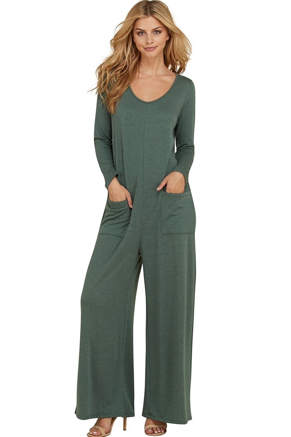 7c6ecfa1889f3 Amazon.com: Annabelle Women's Long Sleeve French Terry Wide Leg Pocket  Romper Jumpsuits S-3XL: Clothing