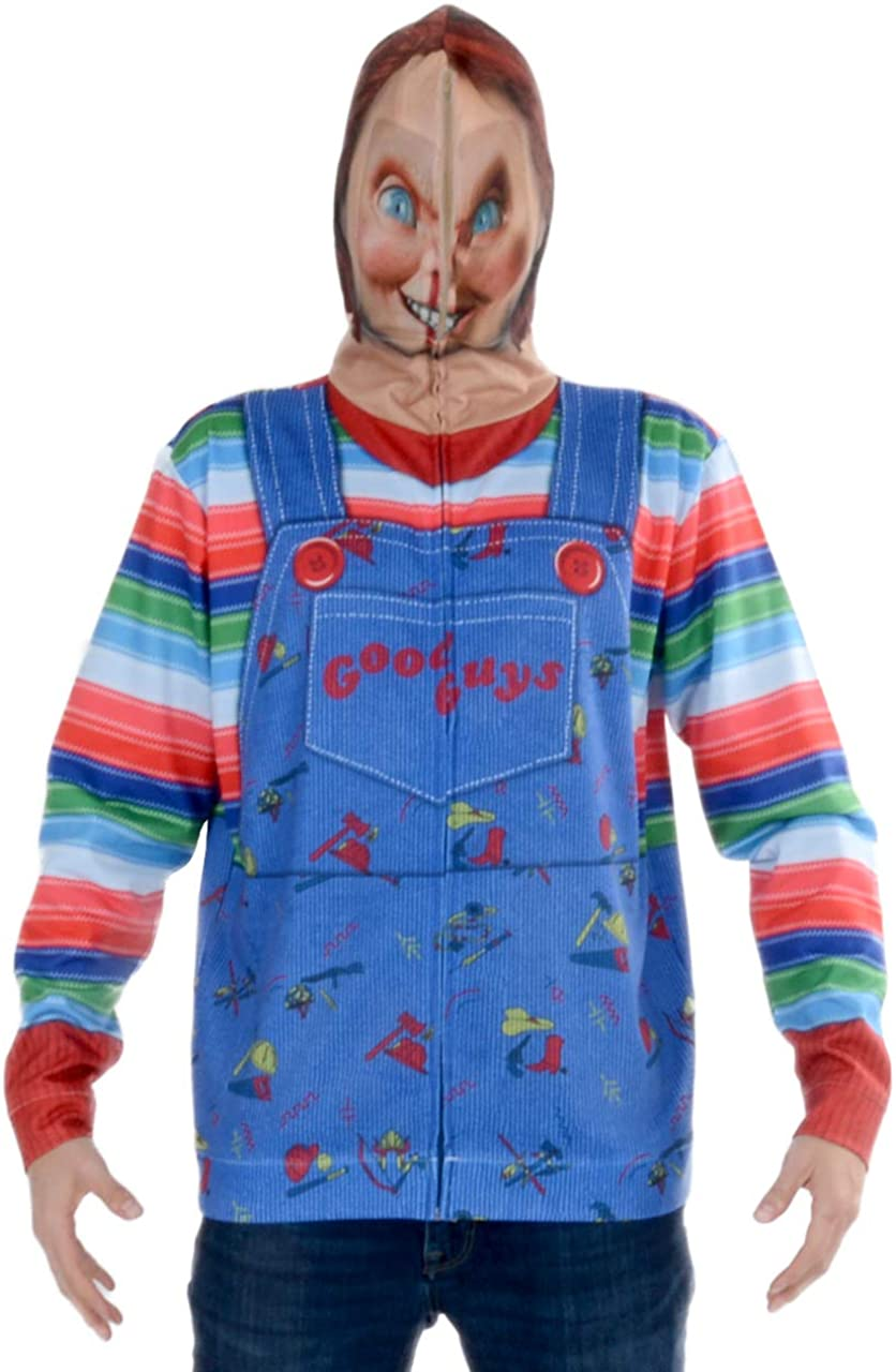 Faux Real Men's Sublimated Faux Full Zip Mask Hoodie