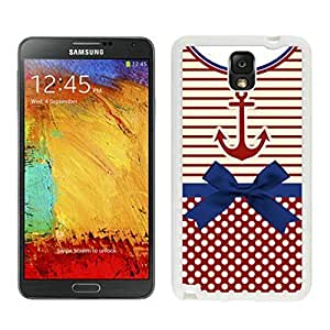 Samsung Galaxy Note 3 White Rubber Case for Girls Durable Soft Silicone Note III Covers Anchor lsh Retro Vintage Tribal Nebula Pattern
