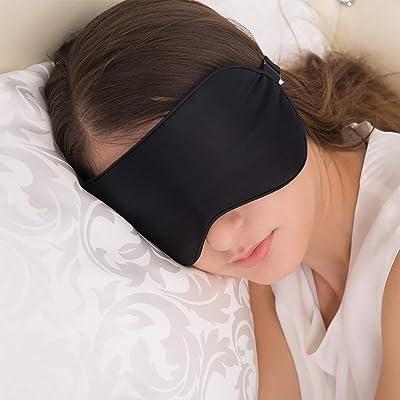 Antifaz para Dormir, JEFlex Seda Natural Blindfold Mascara para los ojos con correa ajustable