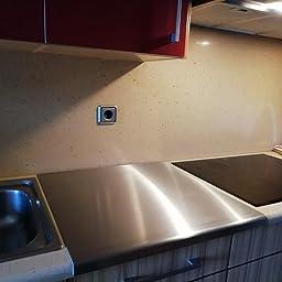 Protector de encimera de acero inoxidable con borde cuadrado, plano o redondo (incluye pies de goma antideslizantes) 200 x 200 Round Fold plata: Amazon.es: Hogar