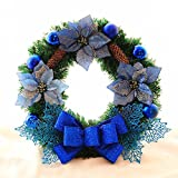 Christmas Garland for Stairs fireplaces Christmas Garland Decoration Xmas Festive Wreath Garland with Blue rattan wreath Christmas,60cm