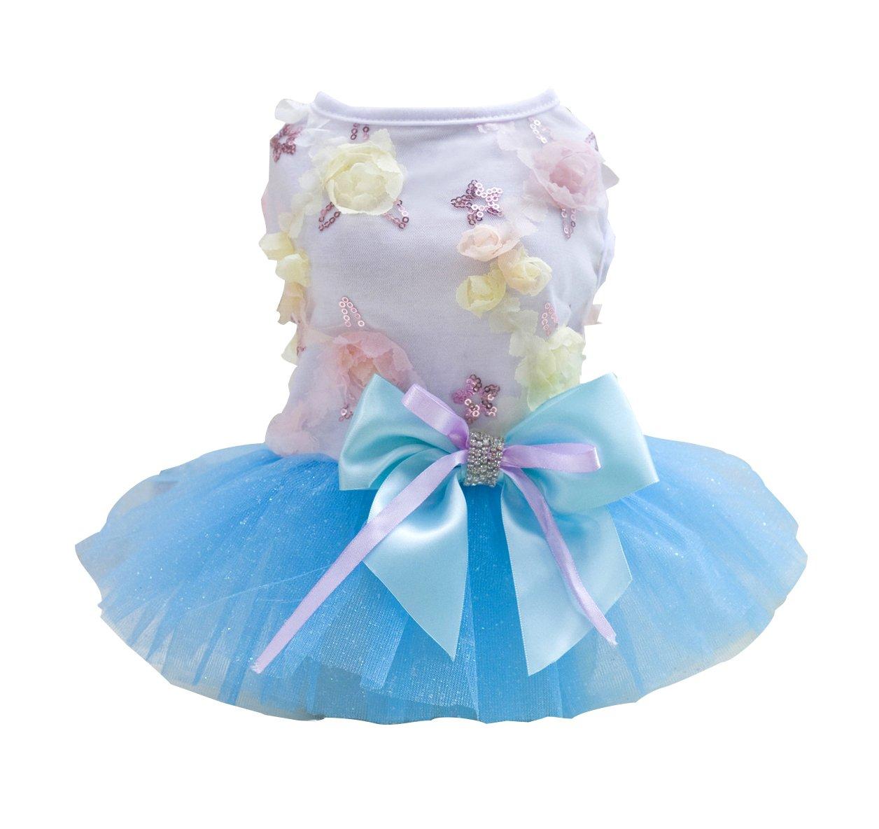 blueE XL blueE XL Rdc Pet Dog Dress Puppy Dog Princess Dresses,Tutu Flower and Sequin Dot Wedding Lace Dress Luxury Bow Dress for Small Dog Girl (XL, bluee)