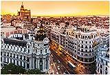 Panoramic View Of Gran Via, Madrid, Spain Poster by kasto 19 x 13in
