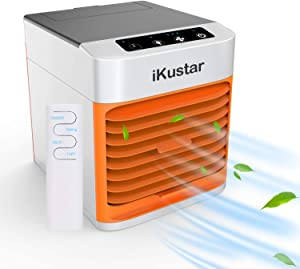 iKustar Portable Air Conditioner - Small Indoor Evaporative Air Cooler and Humidifier Fan - Mini Standing Room Floor AC Unit with 7 Color LED Light, Touch Button and 3 Speed Levels for Home, Office