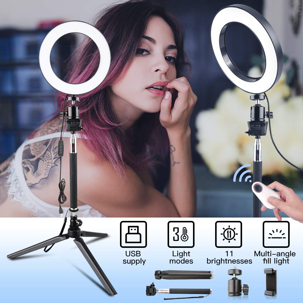 Ring Light with Adjustable Stand & Phone Holder Lighting Kit for Phone Camera YouTube Makeup Video Travor 6-inch Dimmable LED Selfie Light with Remote Control, 3 Modes and 11-Level Brightness