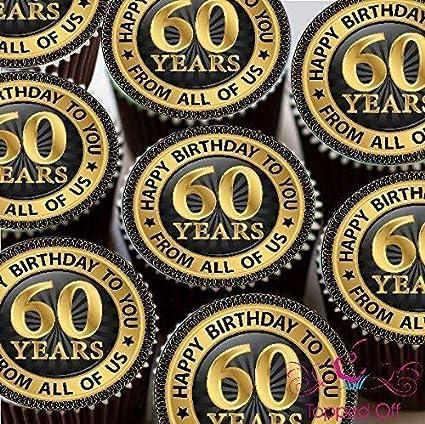 15 x 2 (5 cm) vorgeschnitten redondo Happy 60 cumpleaños ...