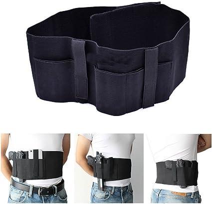 Tactical Military Elastic Belly Band Waist Pistol Gun Holster Belt w// Mag Pouch