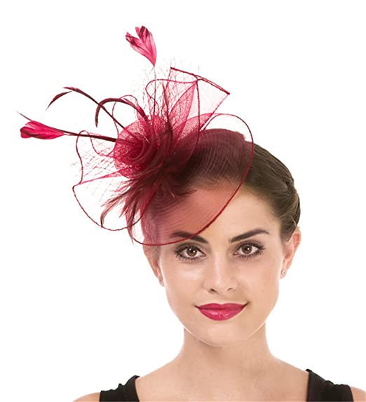 157d7d7d2e403 Fascinator Haojing Feather Mesh Flower on a Headband and a Clip Royal Tea  Party Derby Headwear
