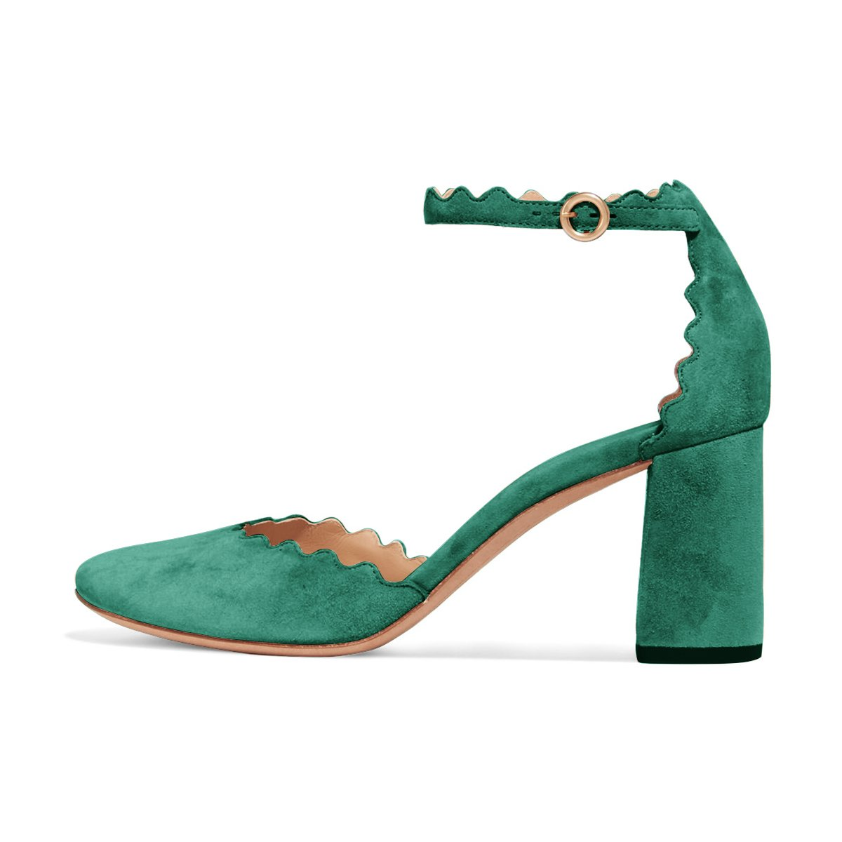 FSJ Women Comfortable Ankle Strap Pumps Block Chunky Heels Round Toe D'Orsay Shoes Size 4-15 US B078J6NDMK 14 M US|Turquoise